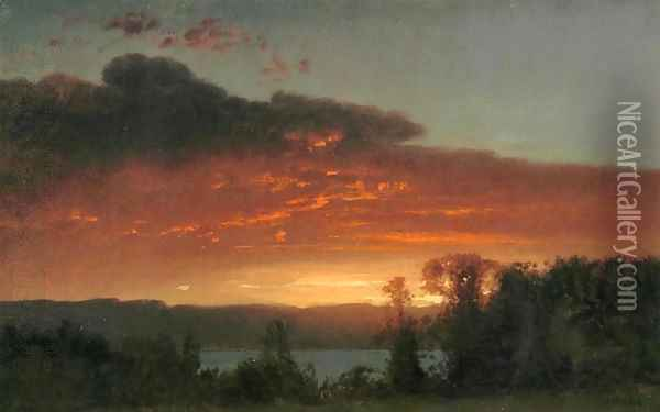 Sunset over the Lake Oil Painting - William Howard Hart