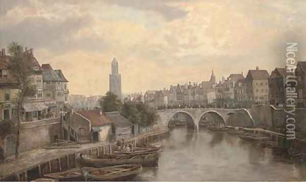 Figures on a bridge in a continental town Oil Painting - William Howard Hart