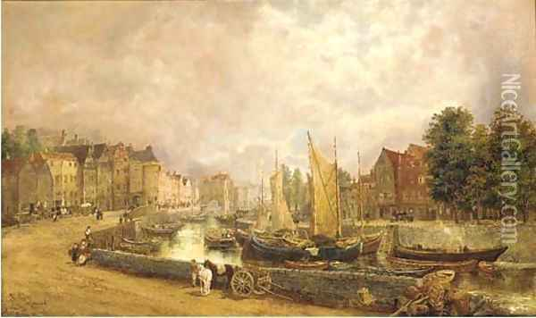 Figures in a Dutch town Oil Painting - William Howard Hart