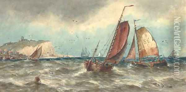 Scarborough fishing boats off Whitby Oil Painting - Thomas Bush Hardy