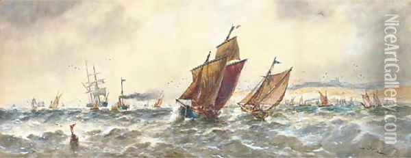 A blustery day in the Channel off Dover Oil Painting - Thomas Bush Hardy