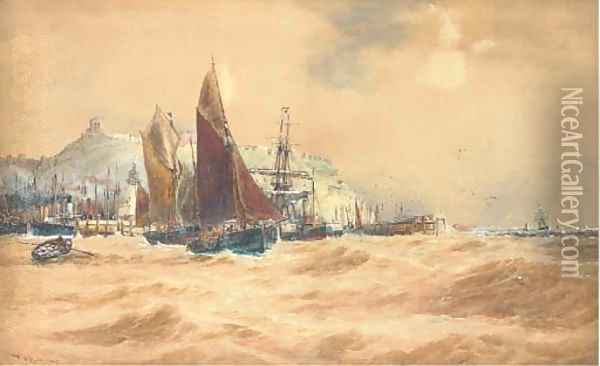 The Scarborough fishing fleet heading out Oil Painting - Thomas Bush Hardy