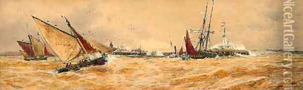 A blustery day off the harbour mouth, Boulogne Oil Painting - Thomas Bush Hardy