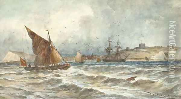 A trading brig and other shipping in the Channel off Dover Oil Painting - Thomas Bush Hardy