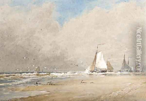 The fishing fleet heading out to sea Oil Painting - Thomas Bush Hardy