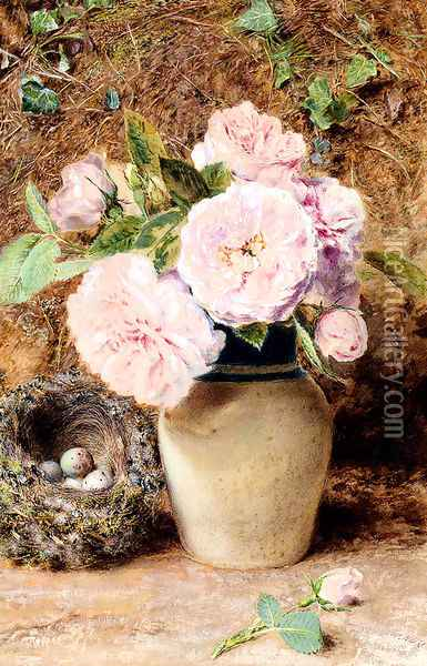 Still Life With Roses In A Vase And A Birds Nest Oil Painting - William Henry Hunt