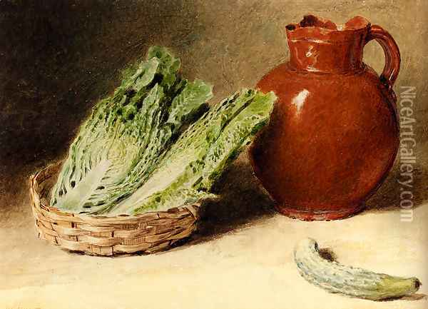 Still Life With A Jug, A Cabbage In A Basket And A Gherkin Oil Painting - William Henry Hunt