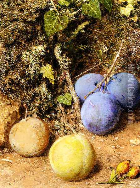 Still Life With Greengages And Plums On A Mossy Bank Oil Painting - William Henry Hunt