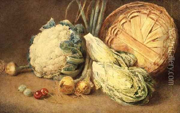 A Still Life of Vegetables Oil Painting - William Henry Hunt