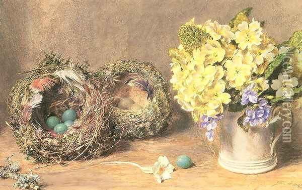 Spring Flowers and Birds Nests Oil Painting - William Henry Hunt