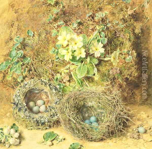 Primroses and Birds Nests Oil Painting - William Henry Hunt