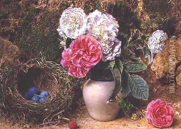 Roses and Birds Nest Oil Painting - William Henry Hunt