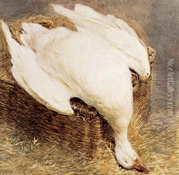 Still Life of a Dead Goose with a Basket Oil Painting - William Henry Hunt