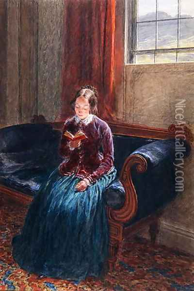 A Lady Reading called Mrs William Hunt Oil Painting - William Henry Hunt