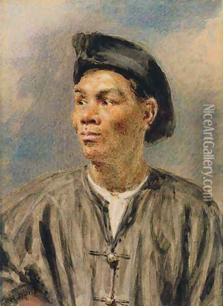 A Mulatto Boy Oil Painting - William Henry Hunt