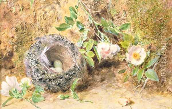 Still Life with Chaffinch Nest Oil Painting - William Henry Hunt