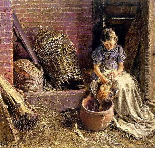 Plucking the fowl Oil Painting - William Henry Hunt