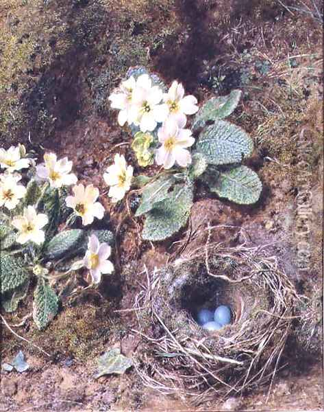Primroses and Birds Nest with Three Blue Eggs Oil Painting - William Henry Hunt