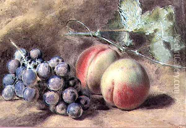 Grapes and Peaches Oil Painting - William Henry Hunt