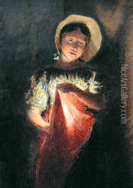 Girl in Candlelight Oil Painting - William Henry Hunt