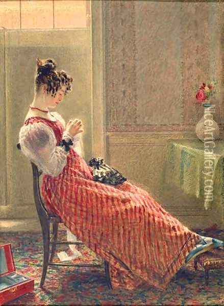 Lady Sewing Oil Painting - William Henry Hunt