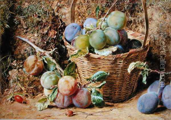 Plums Oil Painting - William Henry Hunt