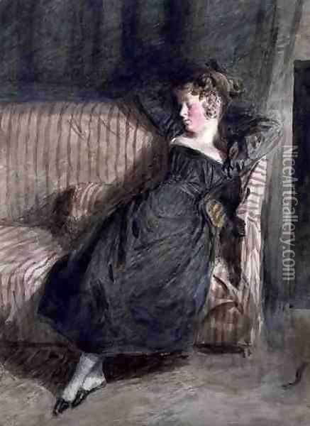 Young Girl Asleep on a Couch Oil Painting - William Henry Hunt