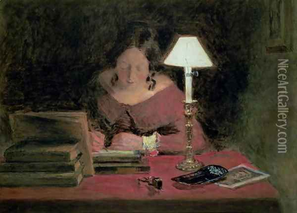 Girl Writing by Lamplight Oil Painting - William Henry Hunt