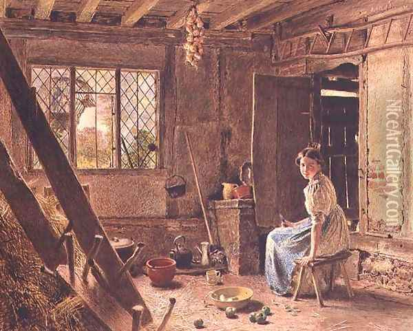 The Maid and the Magpie A Cottage Interior at Shillington Bedfordshire Oil Painting - William Henry Hunt