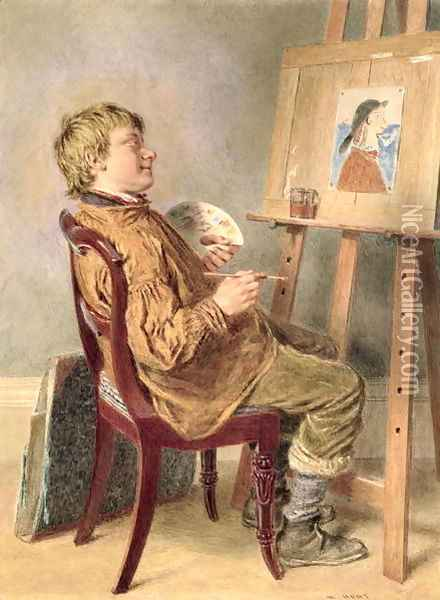 The Rustic Artist Oil Painting - William Henry Hunt