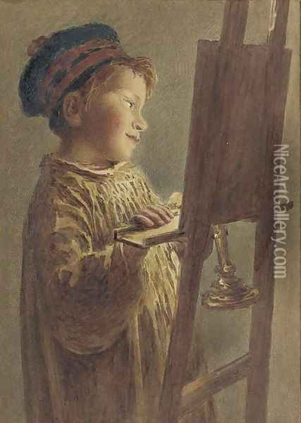 A young boy viewing a picture by candlelight Oil Painting - William Henry Hunt