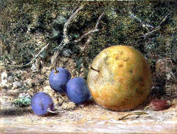 Three Grapes and an Apple Oil Painting - William Henry Hunt