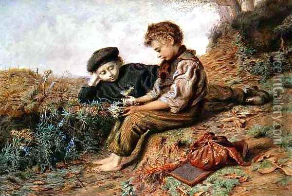 Schoolboys with a Stolen Nest Oil Painting - William Henry Hunt