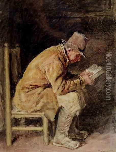 Study of a Countryman Reading Oil Painting - William Henry Hunt