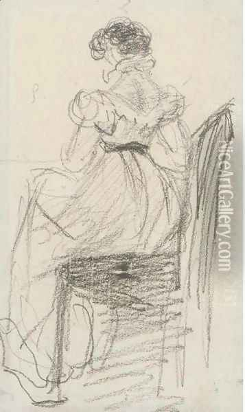 A young lady, seated on a chair, seen from the back Oil Painting - William Henry Hunt