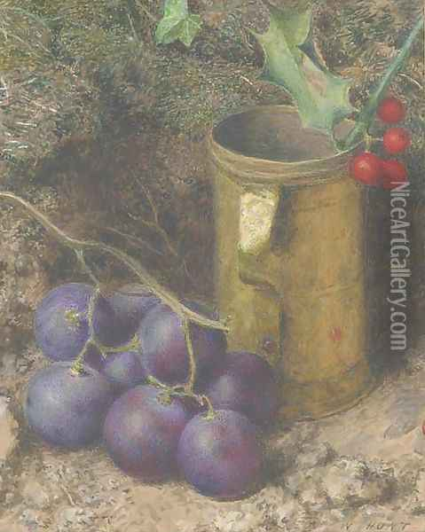 Still life of grapes, a tankard and a sprig of holly Oil Painting - William Henry Hunt