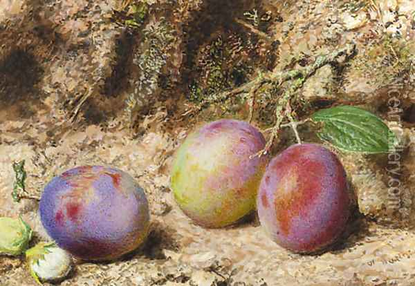 Still life with plums and hazelnuts on a mossy bank Oil Painting - William Henry Hunt