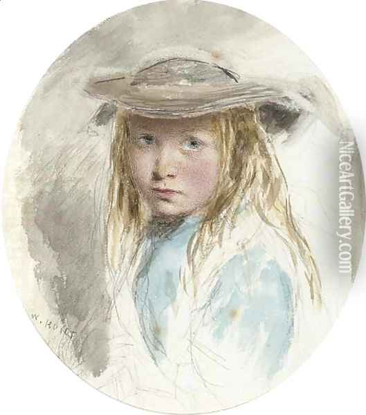 Study of a young girl Oil Painting - William Henry Hunt