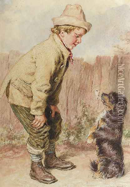 A boy with a begging dog Oil Painting - William Henry Hunt