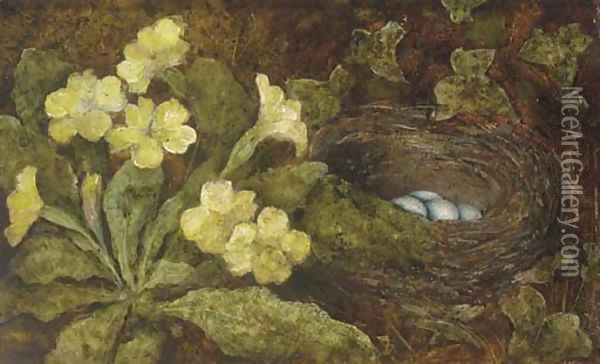 A primula and a bird's nest on a mossy bank Oil Painting - William Henry Hunt