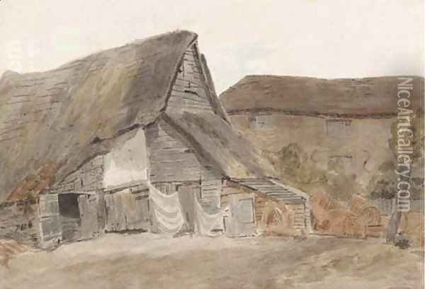 Cottages at St. Albans Oil Painting - William Henry Hunt