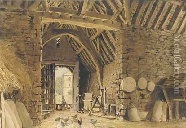 Interior of a barn with chickens Oil Painting - William Henry Hunt