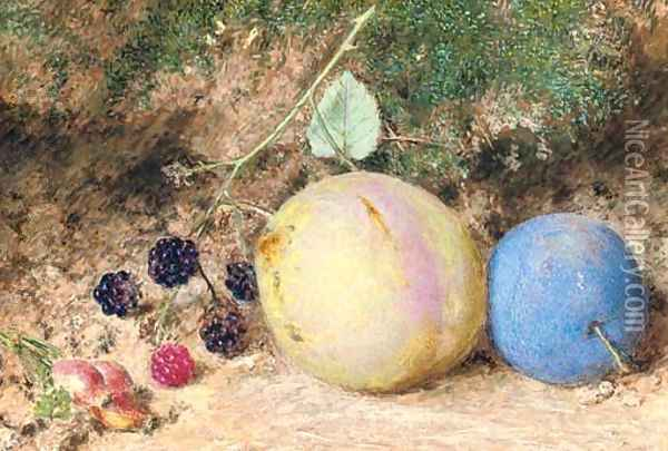 Still-life of rosehips, blackberries and plums, on a mossy bank Oil Painting - William Henry Hunt