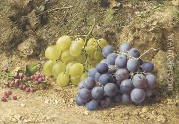 Still-life with white and black grapes and redcurrents Oil Painting - William Henry Hunt