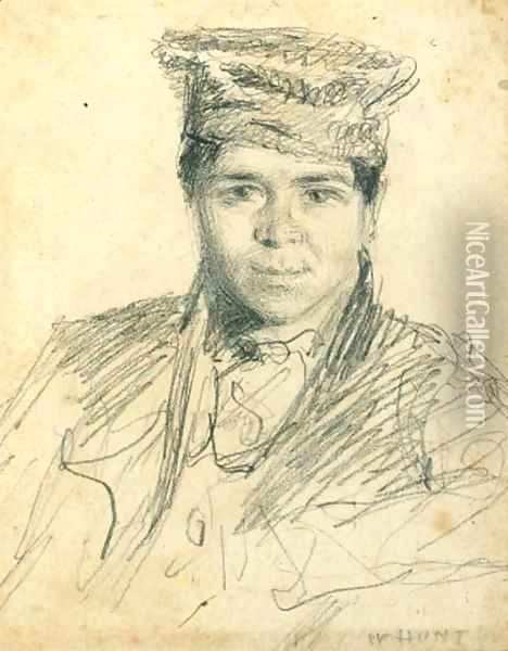 Portrait of a boy, bust-length, wearing a hat Oil Painting - William Henry Hunt