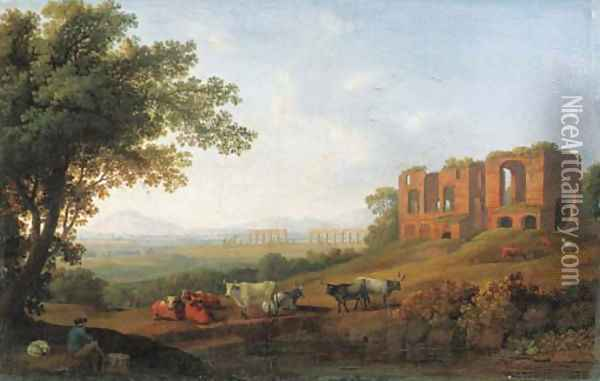 A view of the Roman Campagna by the Appian Way Oil Painting - Jakob Philippe Hackert