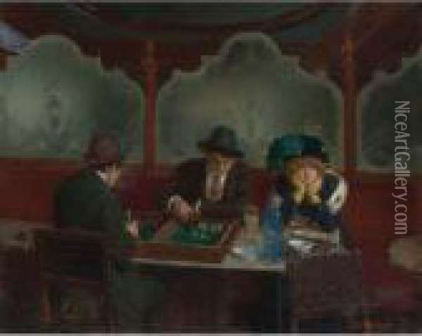 Les Joueurs De Jacquet Backgammon (the Backgammon Players) Oil Painting - Jean-Georges Beraud