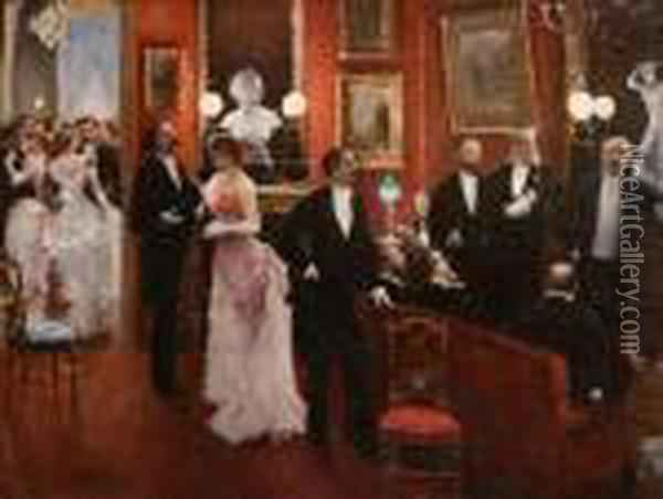 Evening Party Oil Painting - Jean-Georges Beraud