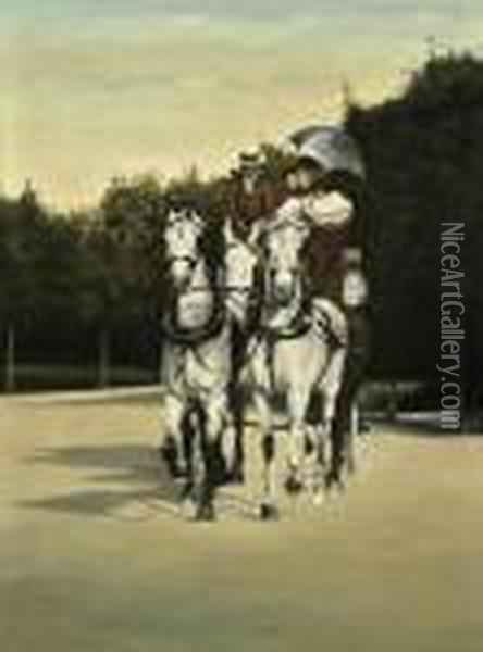 A Family Riding In A Carriage Drawn By Three White Horses Oil Painting - Jean-Georges Beraud