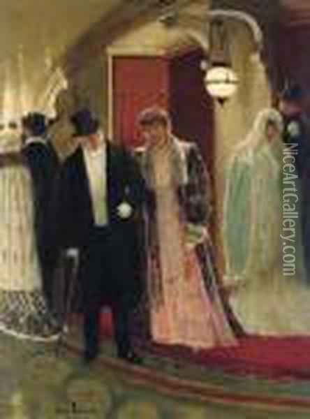 Sortie De La Loge De L'opera: Leaving The Opera Oil Painting - Jean-Georges Beraud